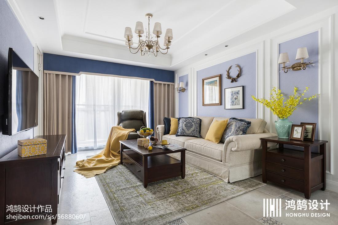 精美面积96平美式三居客厅装修效果图片大全客厅窗帘2图美式经典客厅设计图片赏析