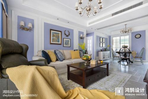 2018精选面积105平美式三居客厅装修设计效果图片欣赏客厅窗帘3图