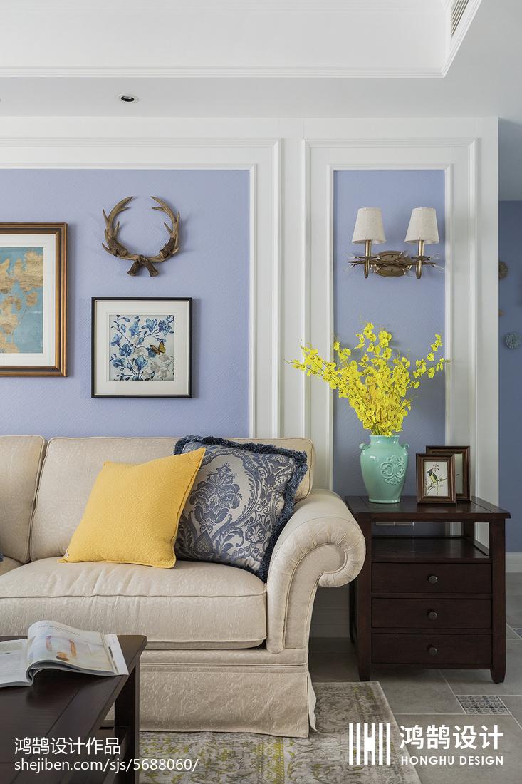 精选面积99平美式三居客厅装修实景图片客厅窗帘1图美式经典客厅设计图片赏析