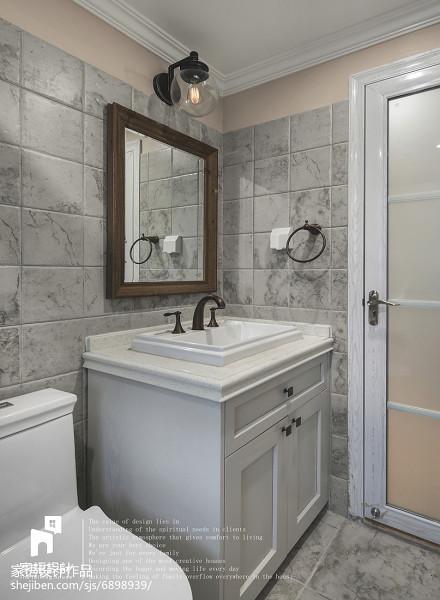 明亮99平美式三居卫生间实景图卫生间