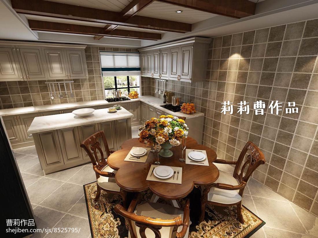2018精选139平米美式别墅厨房欣赏图片大全餐厅美式经典厨房设计图片赏析