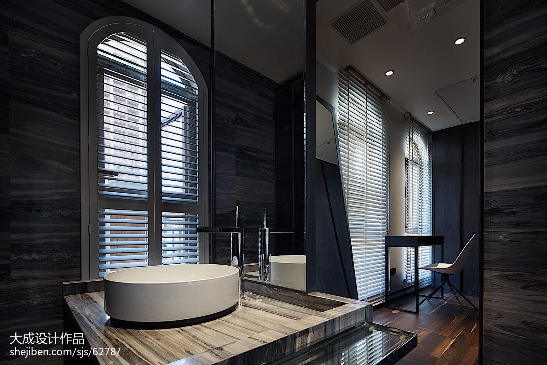 现代复式卫浴洗手台实景图