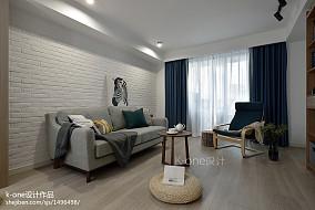 平方二居客厅北欧装修图片大全客厅北欧极简设计图片赏析