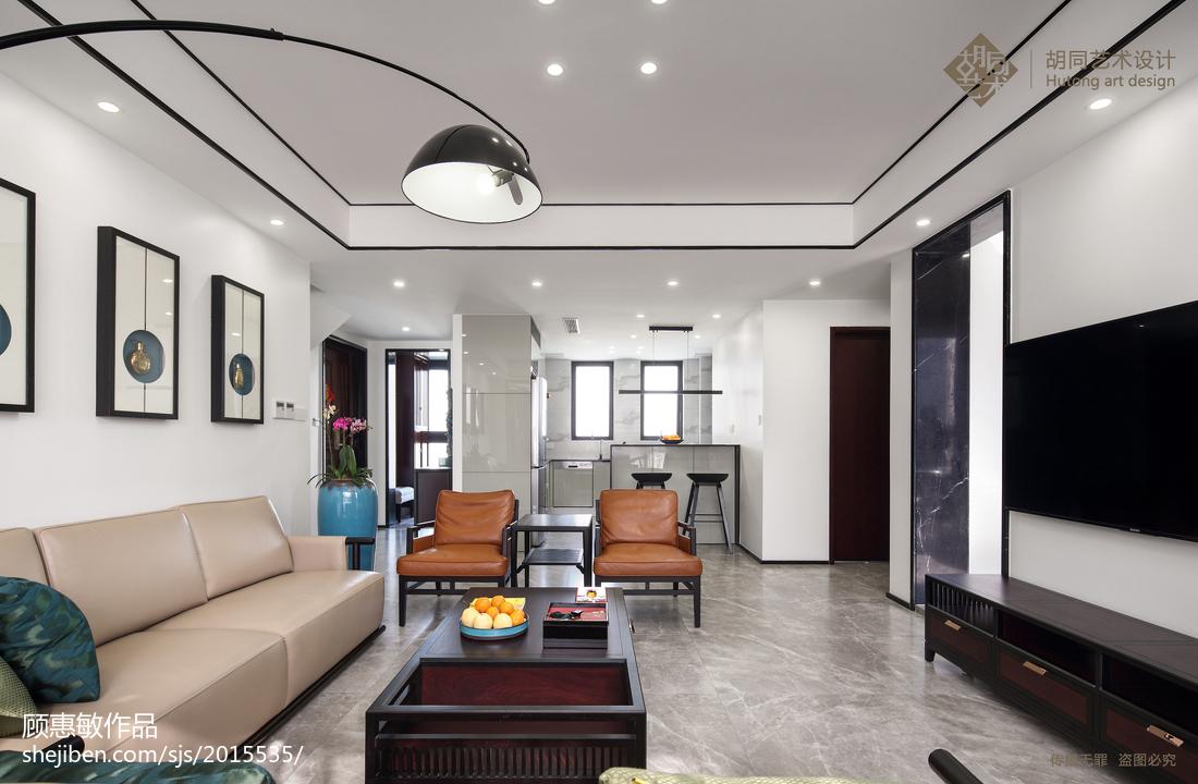 热门90平方三居客厅中式装修效果图客厅电视背景墙中式现代客厅设计图片赏析