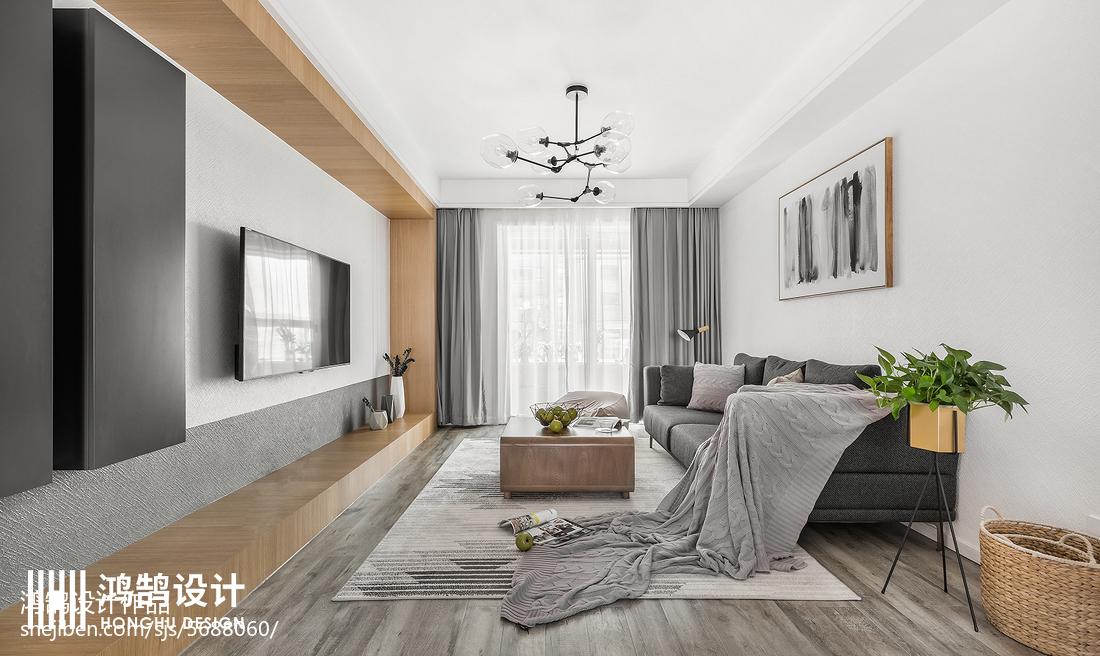 2018面积108平北欧三居客厅装饰图片大全客厅