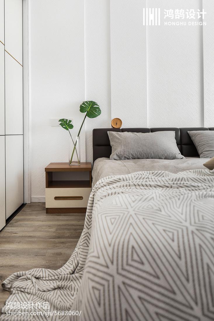 2018面积109平北欧三居卧室装修图片卧室床头柜北欧极简卧室设计图片赏析