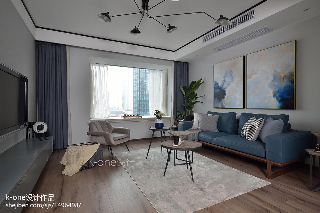 现代风三居客厅背景装饰画设计图