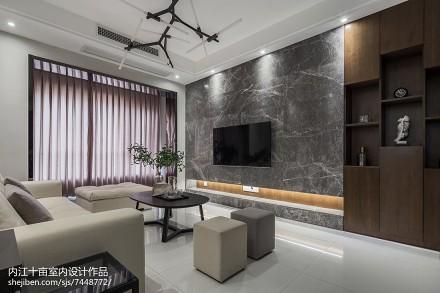 现代风三居背景墙实景图片客厅