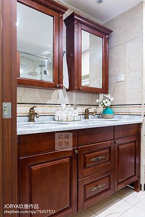 美式风格三居洗手台实景图卫生间美式经典设计图片赏析