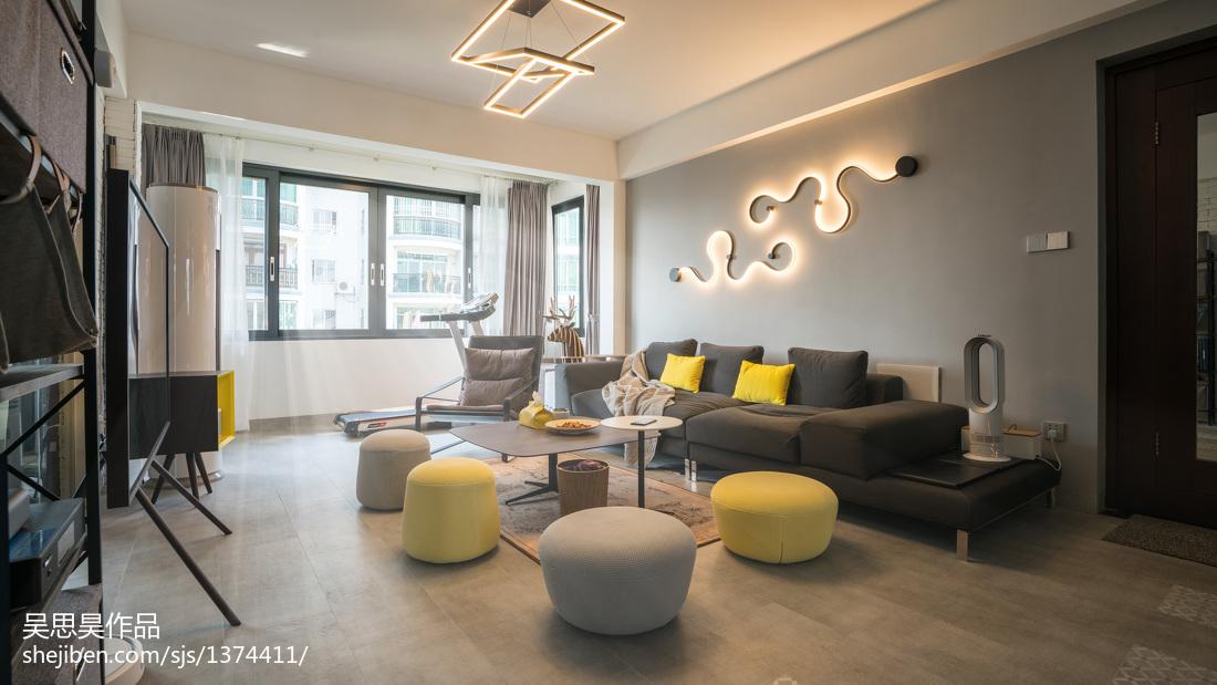 明亮29平混搭小户型客厅装修装饰图81-100m²一居潮流混搭家装装修案例效果图