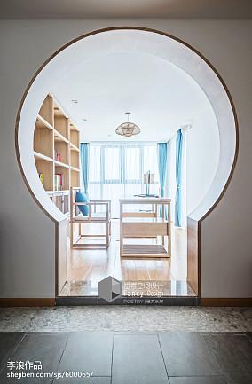 热门123平米四居书房中式装修设计效果图片四居及以上中式现代家装装修案例效果图