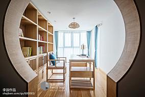 2018精选中式四居书房实景图片四居及以上中式现代家装装修案例效果图