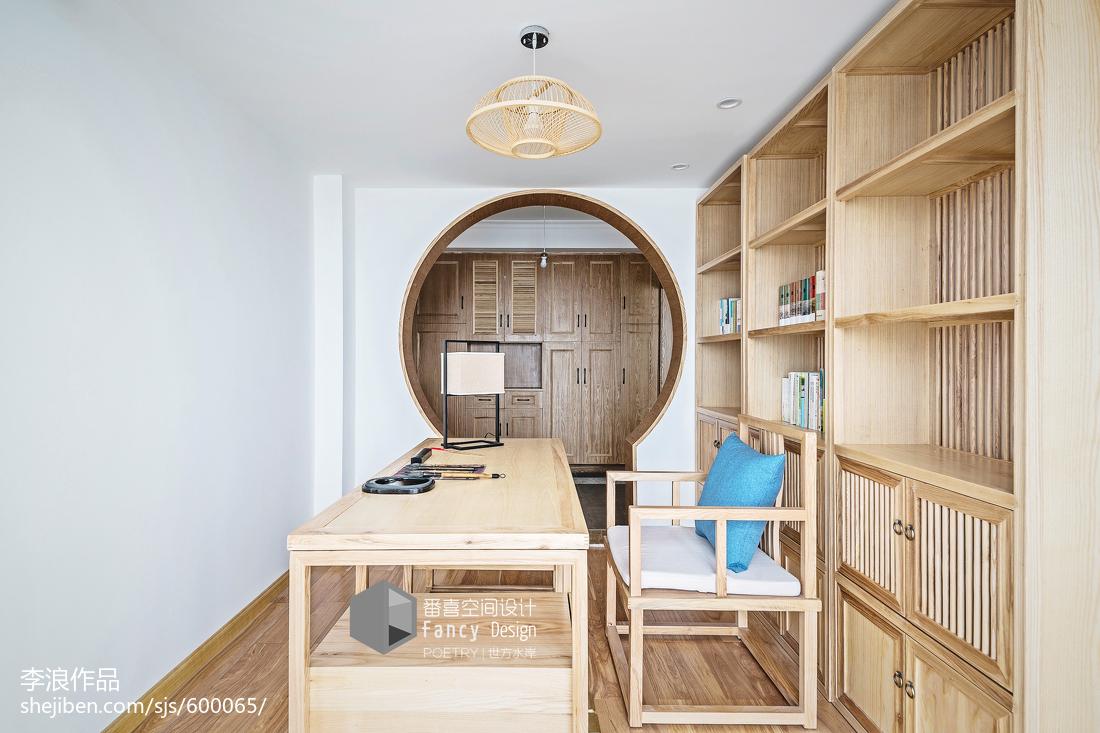 2018精选中式四居书房效果图片四居及以上中式现代家装装修案例效果图