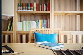 2018中式四居书房装修效果图片欣赏四居及以上中式现代家装装修案例效果图