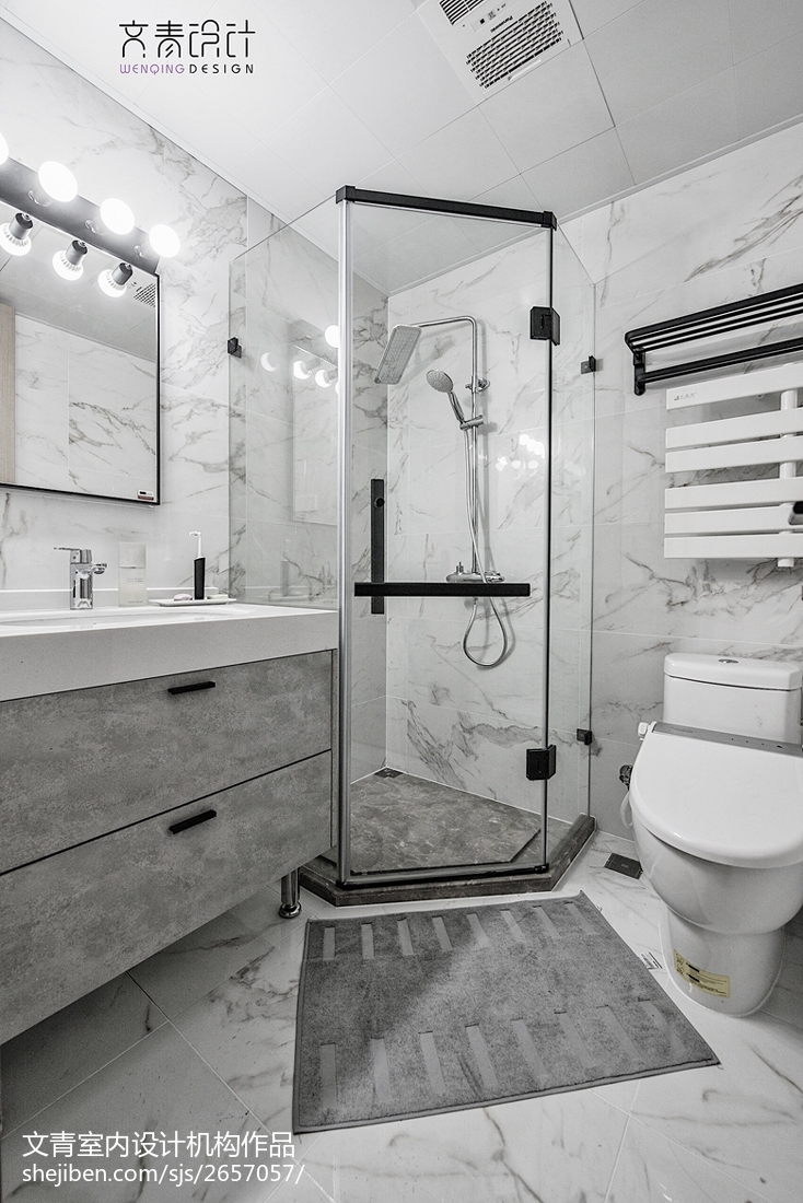 简洁115平现代四居装修图卫生间马桶现代简约卫生间设计图片赏析