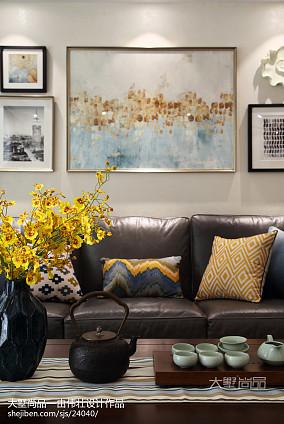 热门74平米二居客厅美式设计效果图二居美式经典家装装修案例效果图