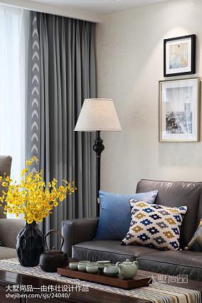 热门面积72平美式二居客厅效果图片大全二居美式经典家装装修案例效果图