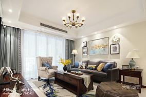 2018精选面积82平美式二居客厅装饰图片大全二居美式经典家装装修案例效果图