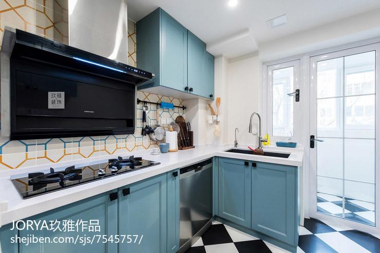 开放式厨房+卡座餐厅仅占14㎡采光超餐厅美式经典厨房设计图片赏析