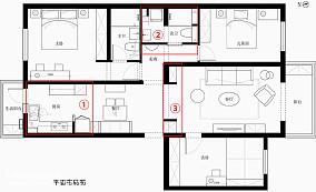 开放式厨房+卡座餐厅,仅占14㎡,采光超三居美式经典家装装修案例效果图
