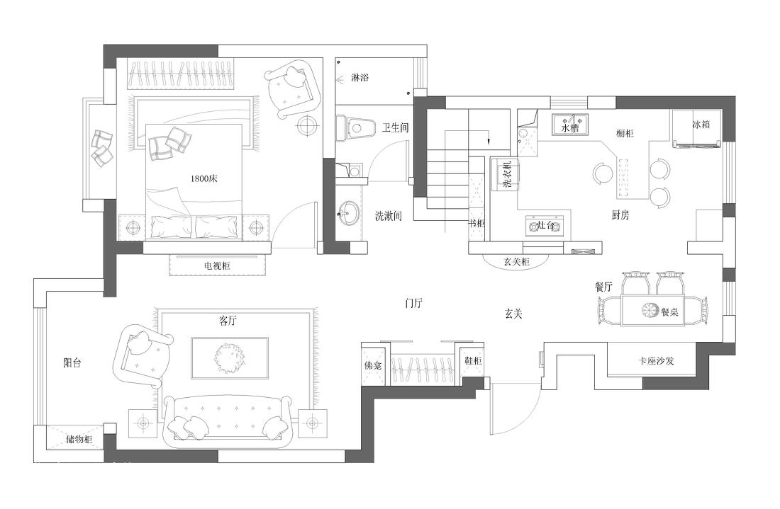 质朴44平混搭复式装潢图功能区潮流混搭功能区设计图片赏析
