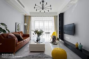 轻奢77平北欧二居客厅效果图片大全二居北欧极简家装装修案例效果图