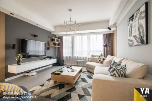 悠雅130平北欧二居客厅装修美图客厅窗帘121-150m²二居北欧极简家装装修案例效果图