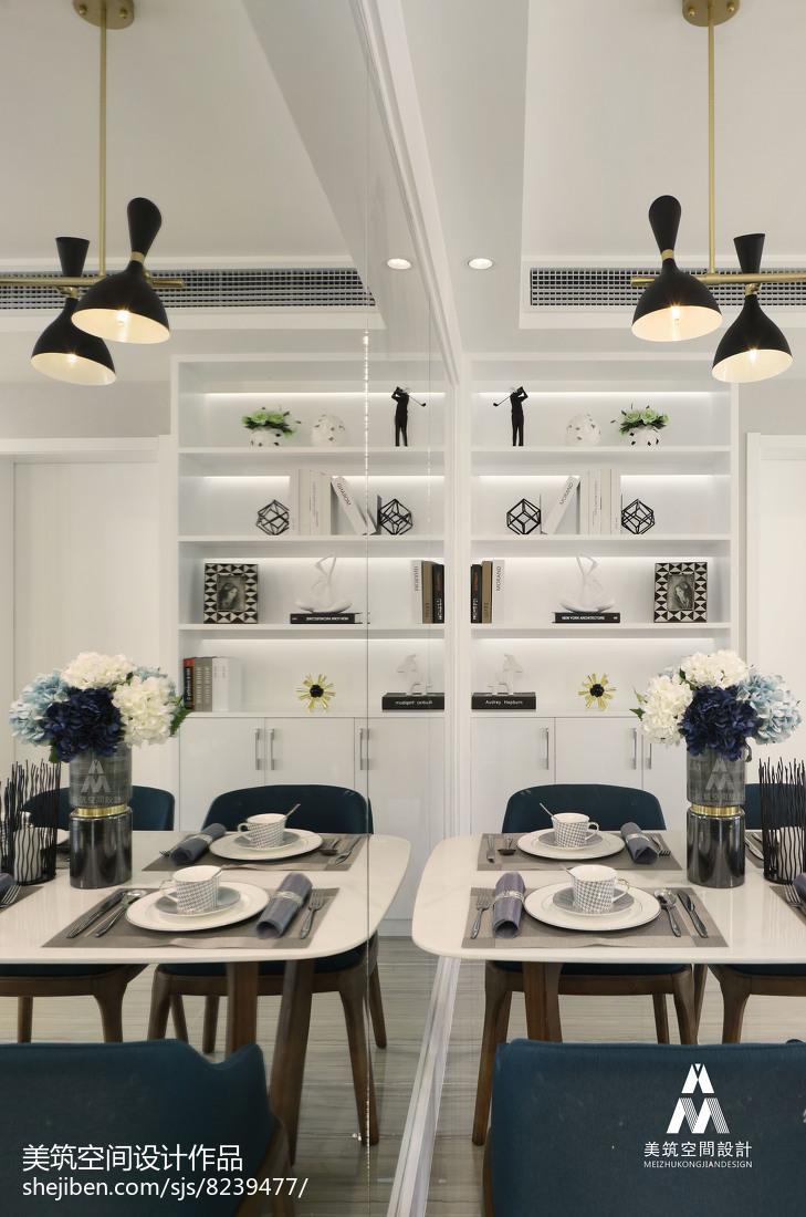 2018精选105平米三居餐厅现代设计效果图厨房现代简约餐厅设计图片赏析