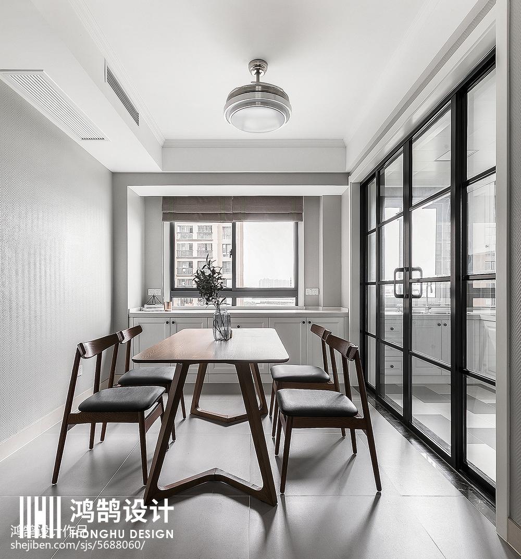 质朴97平现代三居装修美图厨房现代简约餐厅设计图片赏析