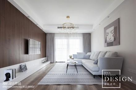 四居现代客厅设计实景图四居及以上现代简约家装装修案例效果图