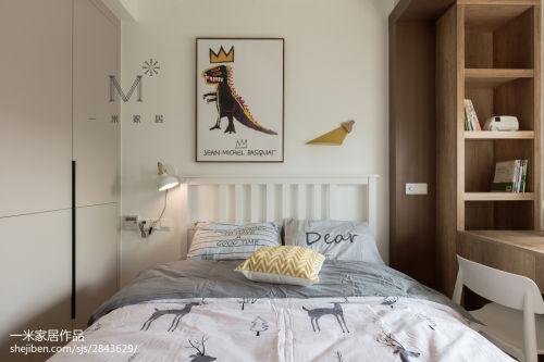 温馨130平北欧二居卧室装饰美图卧室衣柜121-150m²二居北欧极简家装装修案例效果图