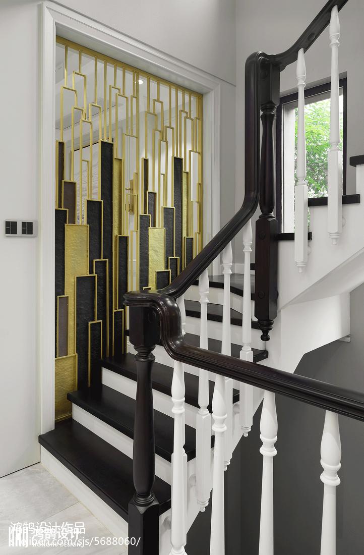 450平美式楼梯设计图功能区美式经典功能区设计图片赏析