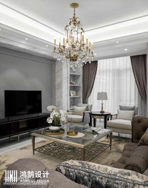 面积132平别墅客厅美式装修图片客厅窗帘201-500m²家装装修案例效果图