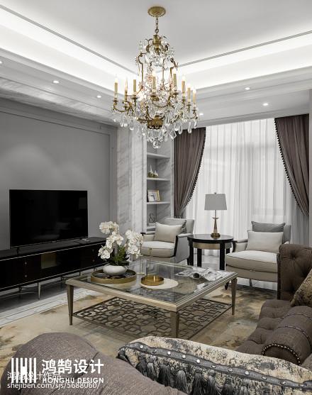 面积132平别墅客厅美式装修图片别墅豪宅美式经典家装装修案例效果图