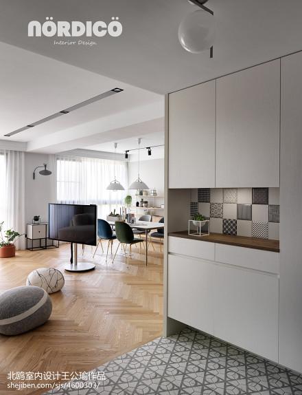 热门108平米三居客厅北欧装修设计效果图片