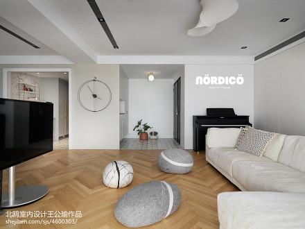 热门面积91平北欧三居客厅装修图片