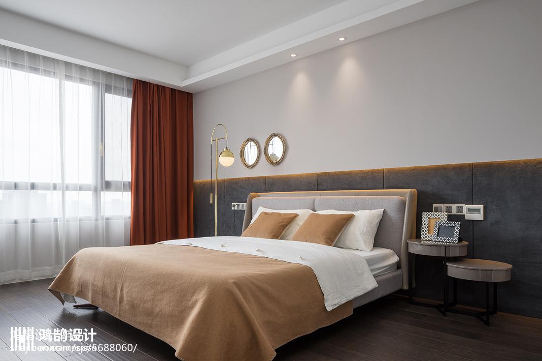 2018精选109平方三居卧室现代装修实景图片卧室窗帘现代简约卧室设计图片赏析