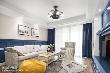 优雅126平地中海三居设计案例客厅1图