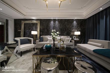 2018面积126平简欧四居客厅装饰图片欣赏