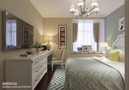 热门105平米三居卧室简欧装修设计效果图家装装修案例效果图