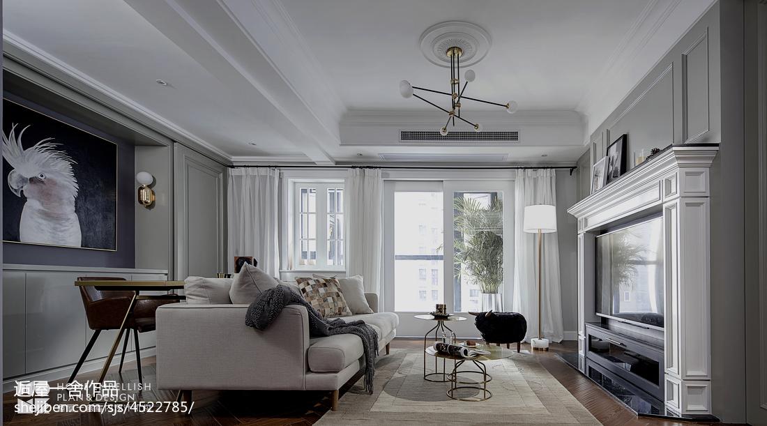 简洁90平美式二居客厅装潢图二居美式经典家装装修案例效果图