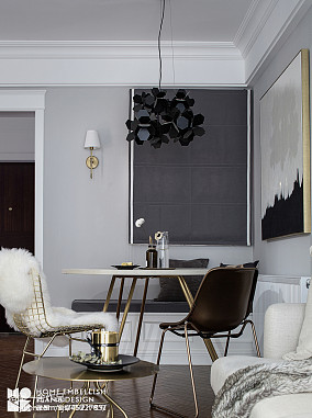 典雅66平美式二居餐厅装修案例二居美式经典家装装修案例效果图