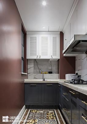 明亮78平美式二居厨房设计案例二居美式经典家装装修案例效果图