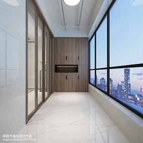 热门102平米三居阳台中式装修实景图片欣赏