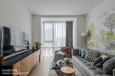 轻奢100平北欧四居客厅图片大全四居及以上北欧极简家装装修案例效果图