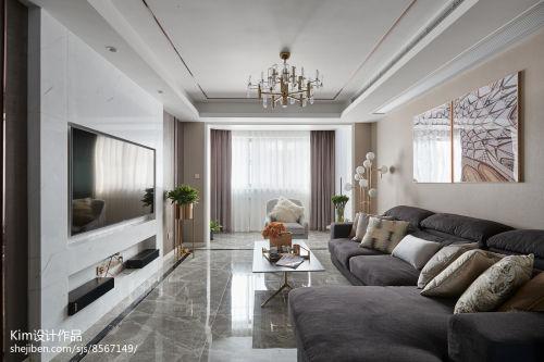 111平方四居客厅现代装修设计效果图客厅窗帘121-150m²四居及以上现代简约家装装修案例效果图