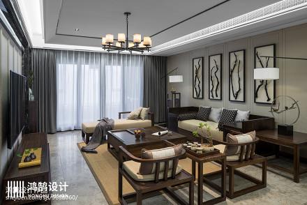 浪漫220平中式三居客厅装修图片三居中式现代家装装修案例效果图