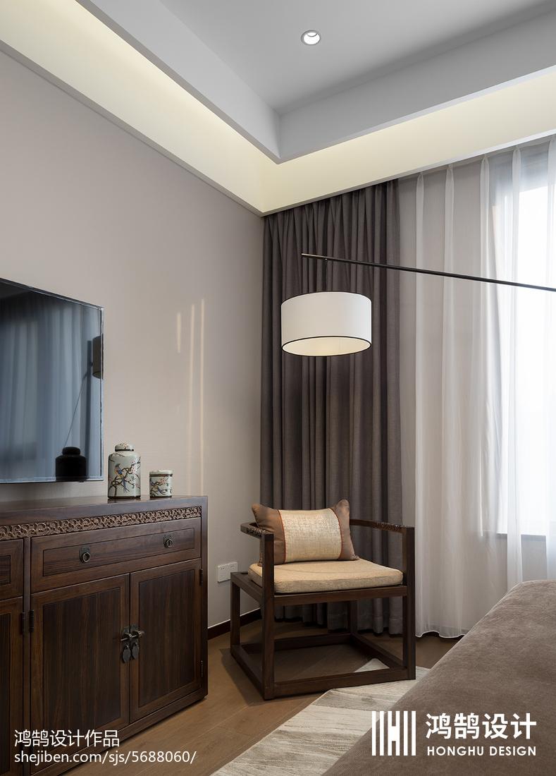 质朴114平中式三居卧室装修装饰图卧室中式现代卧室设计图片赏析