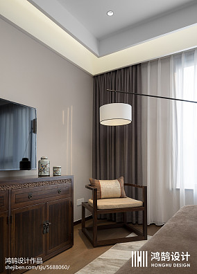 质朴114平中式三居卧室装修装饰图