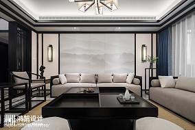 101平米三居客厅中式设计效果图三居中式现代家装装修案例效果图